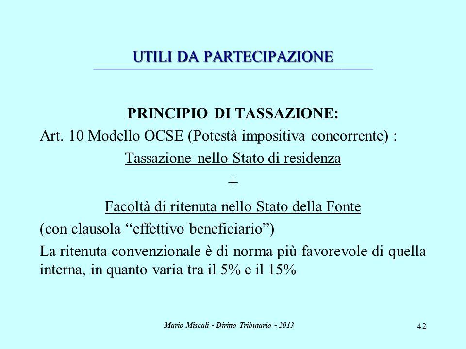 PRINCIPIO DI TASSAZIONE: Mario Miscali - Diritto Tributario - 2013