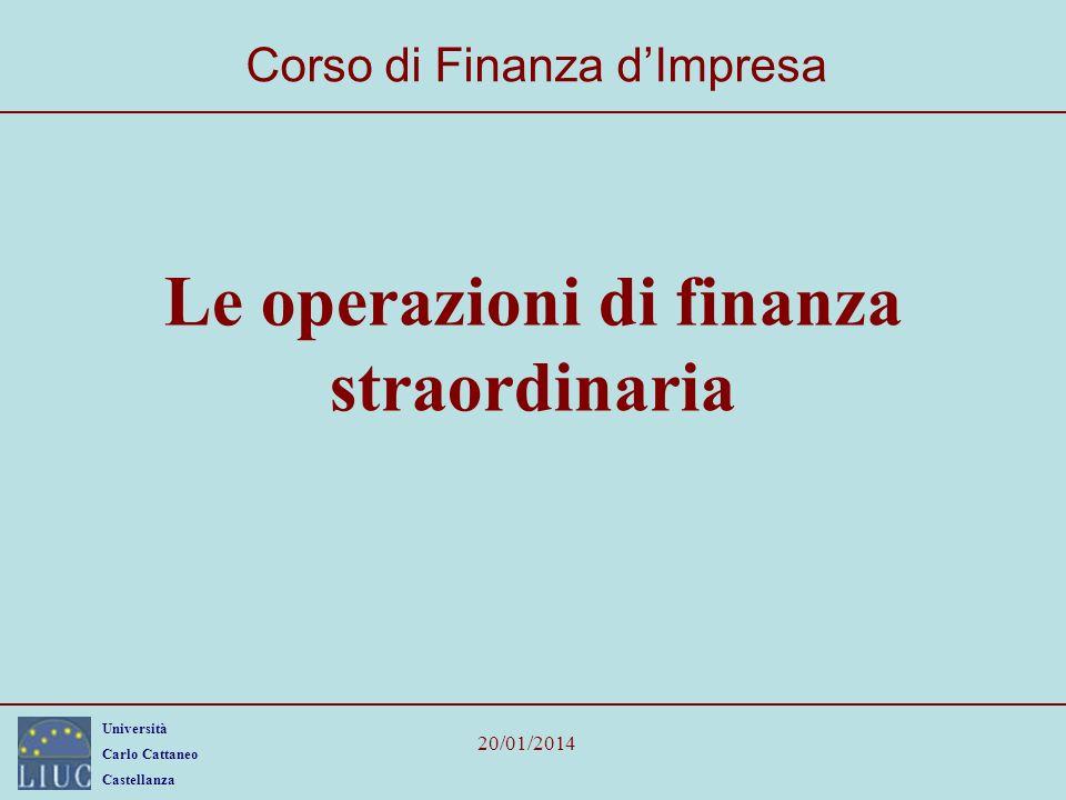 Le operazioni di finanza straordinaria