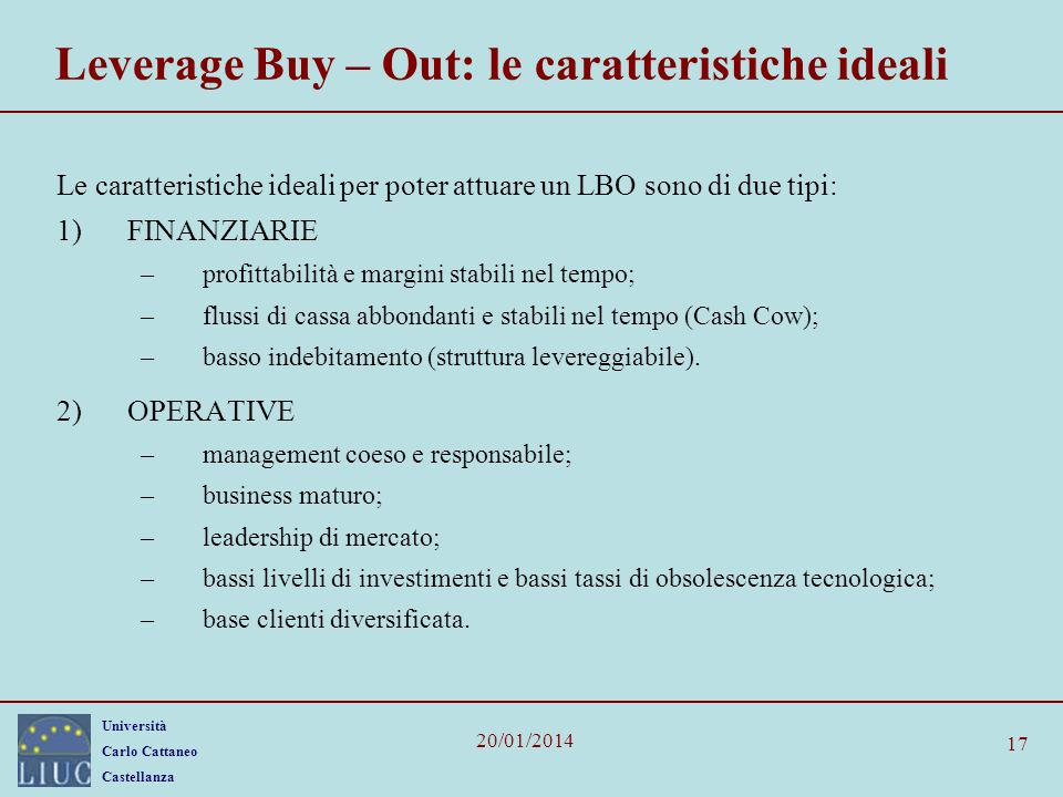 Leverage Buy – Out: le caratteristiche ideali