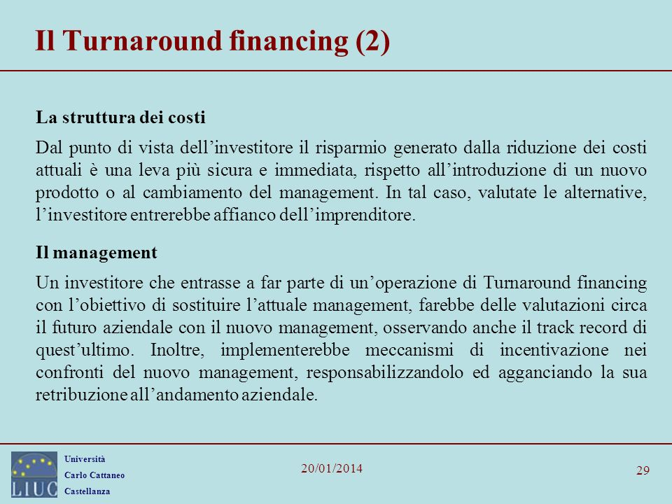 Il Turnaround financing (2)