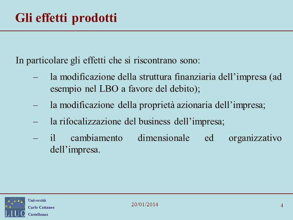 Gli effetti prodotti In particolare gli effetti che si riscontrano sono: