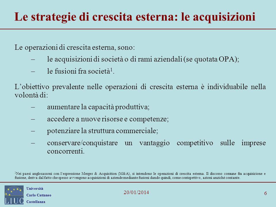 Le strategie di crescita esterna: le acquisizioni