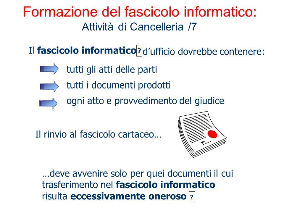 Formazione del fascicolo informatico: Attività di Cancelleria /7