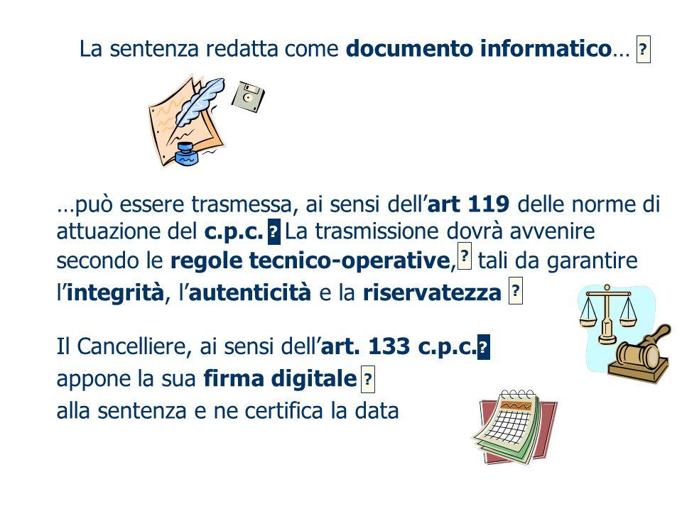 La sentenza redatta come documento informatico…