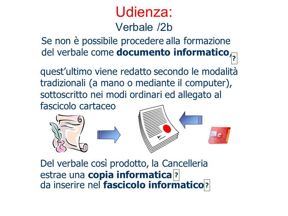 Udienza: Verbale /2b Se non è possibile procedere alla formazione del verbale come documento informatico,
