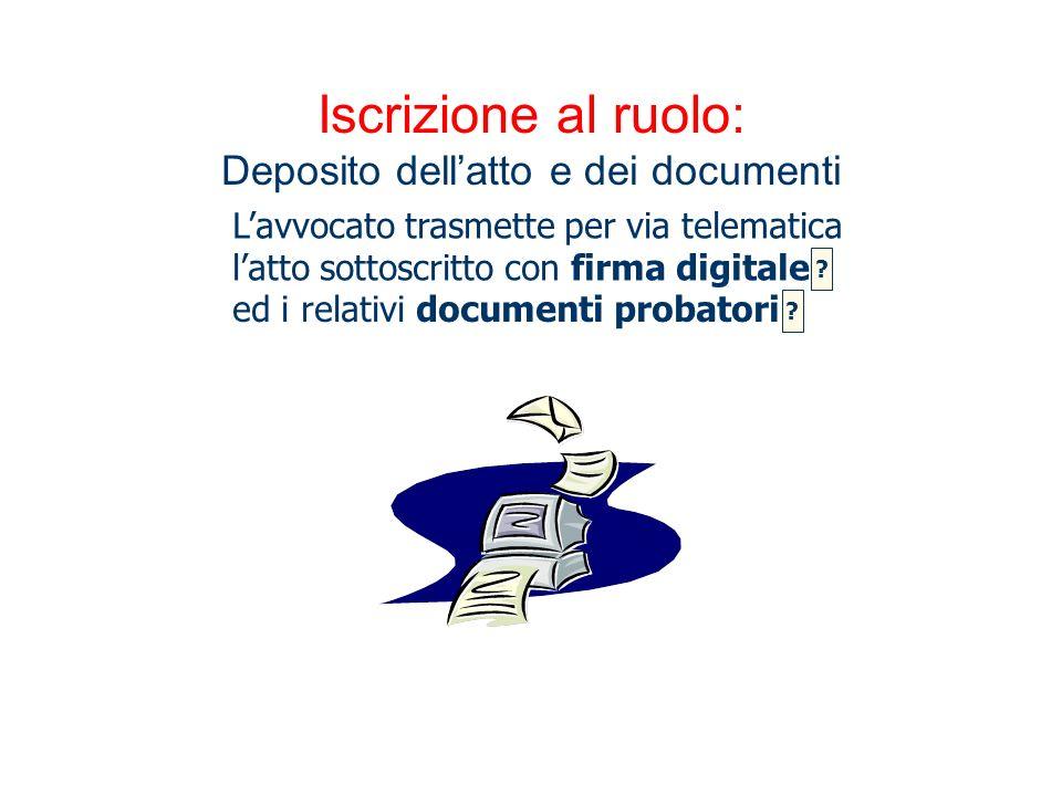 Iscrizione al ruolo: Deposito dell'atto e dei documenti