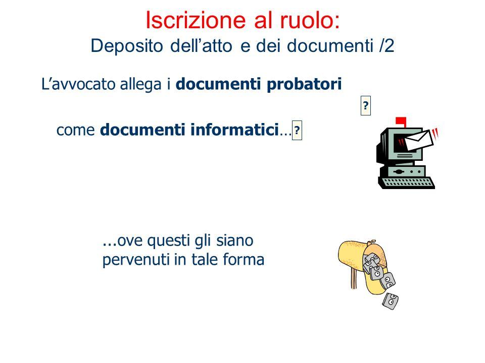 Iscrizione al ruolo: Deposito dell'atto e dei documenti /2