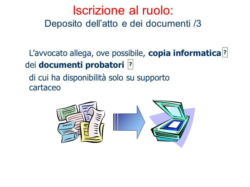 Iscrizione al ruolo: Deposito dell'atto e dei documenti /3