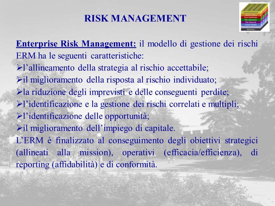 RISK MANAGEMENT Enterprise Risk Management: il modello di gestione dei rischi ERM ha le seguenti caratteristiche: