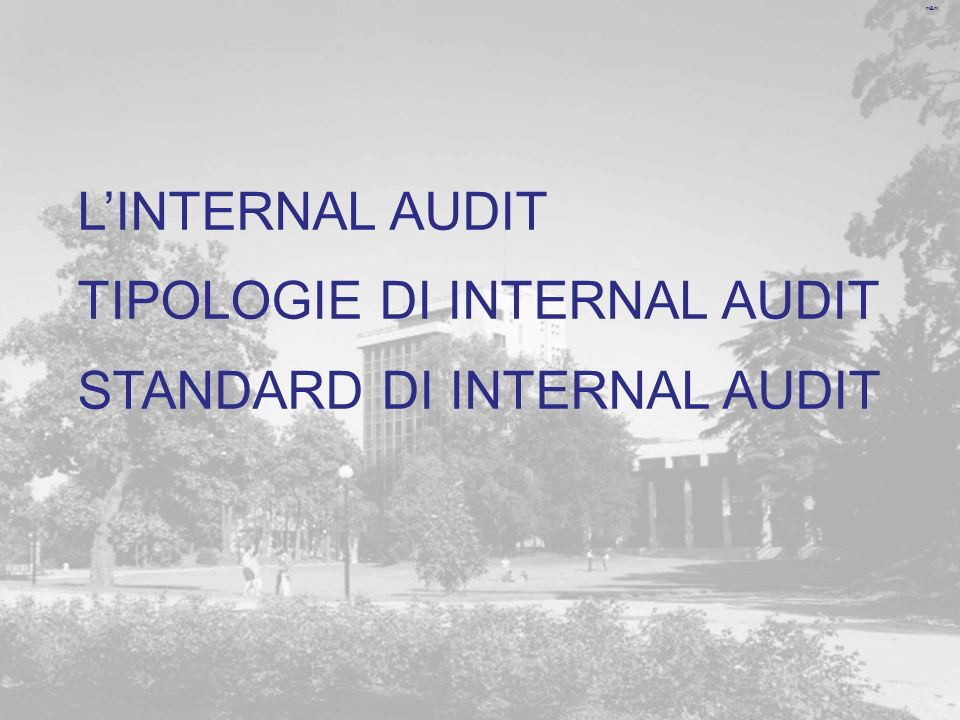 L'INTERNAL AUDIT TIPOLOGIE DI INTERNAL AUDIT STANDARD DI INTERNAL AUDIT
