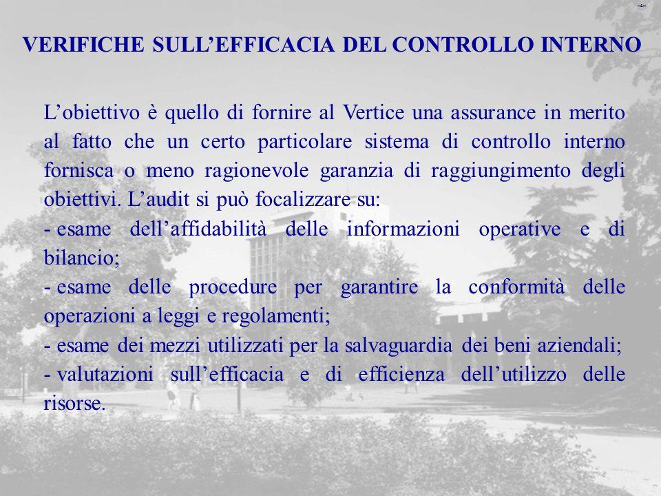 VERIFICHE SULL'EFFICACIA DEL CONTROLLO INTERNO