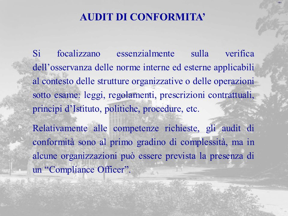 AUDIT DI CONFORMITA'