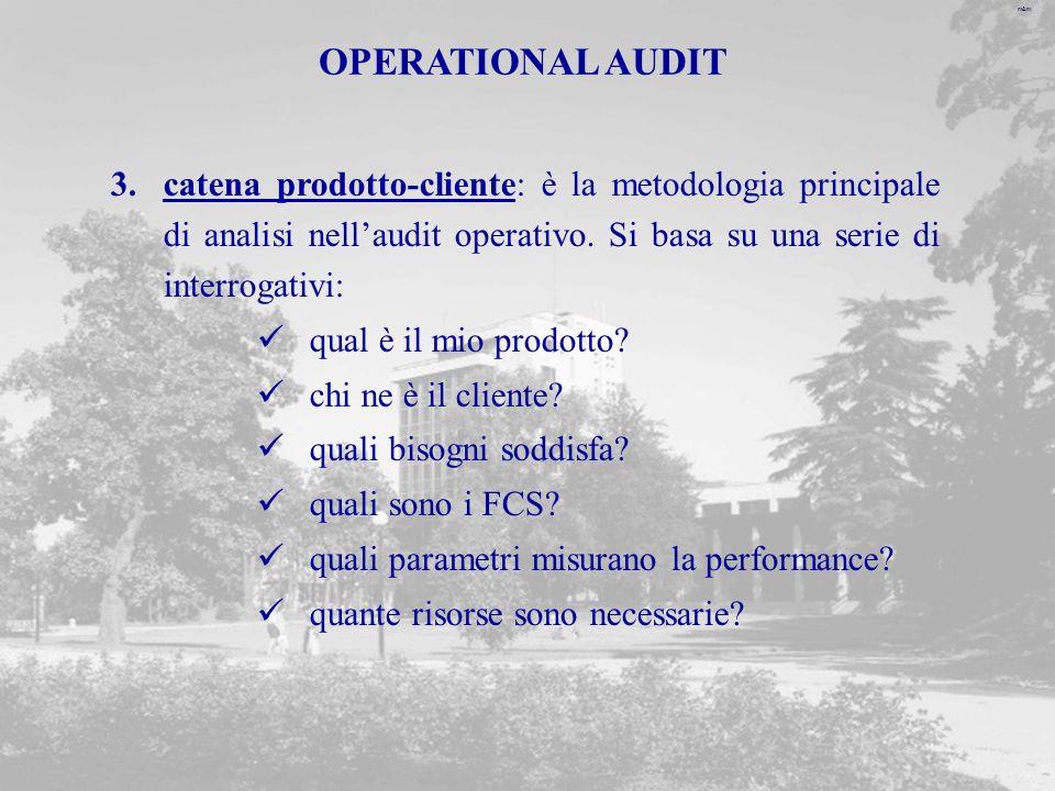 OPERATIONAL AUDIT catena prodotto-cliente: è la metodologia principale di analisi nell'audit operativo. Si basa su una serie di interrogativi:
