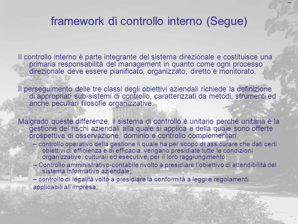framework di controllo interno (Segue)