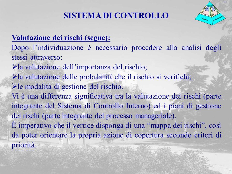 SISTEMA DI CONTROLLO Valutazione dei rischi (segue):