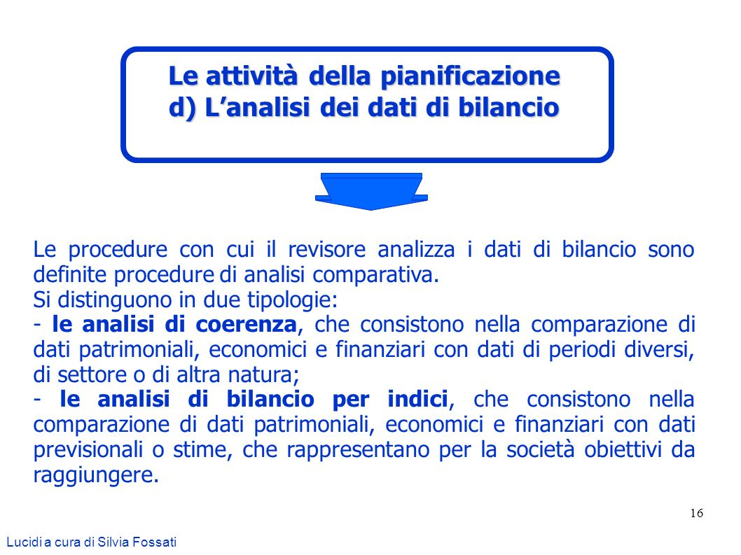 Le attività della pianificazione d) L'analisi dei dati di bilancio