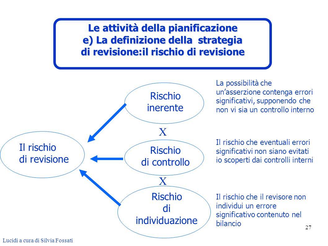 X X Le attività della pianificazione e) La definizione della strategia