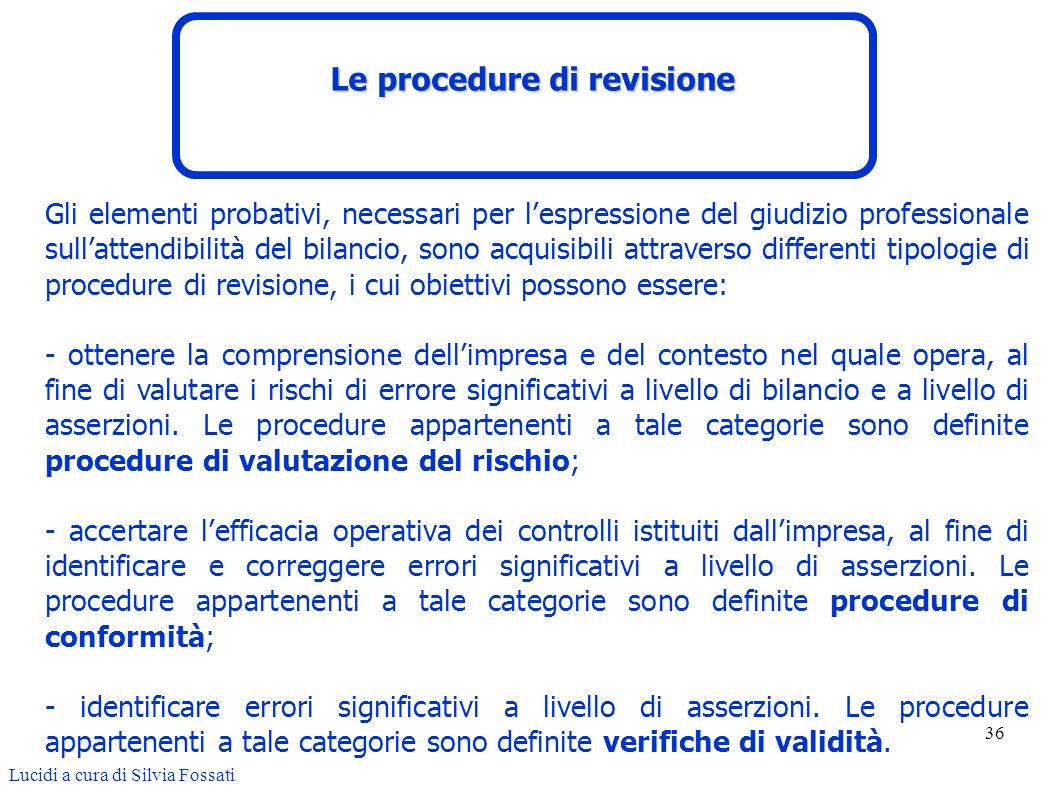 Le procedure di revisione