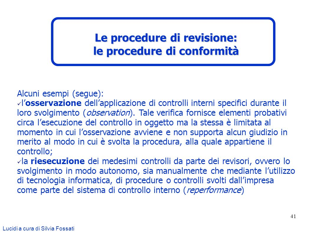 Le procedure di revisione: le procedure di conformità