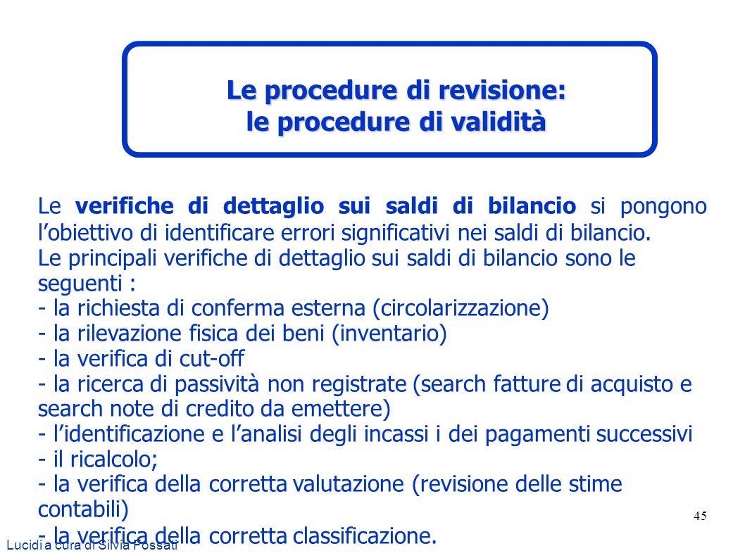 Le procedure di revisione: le procedure di validità