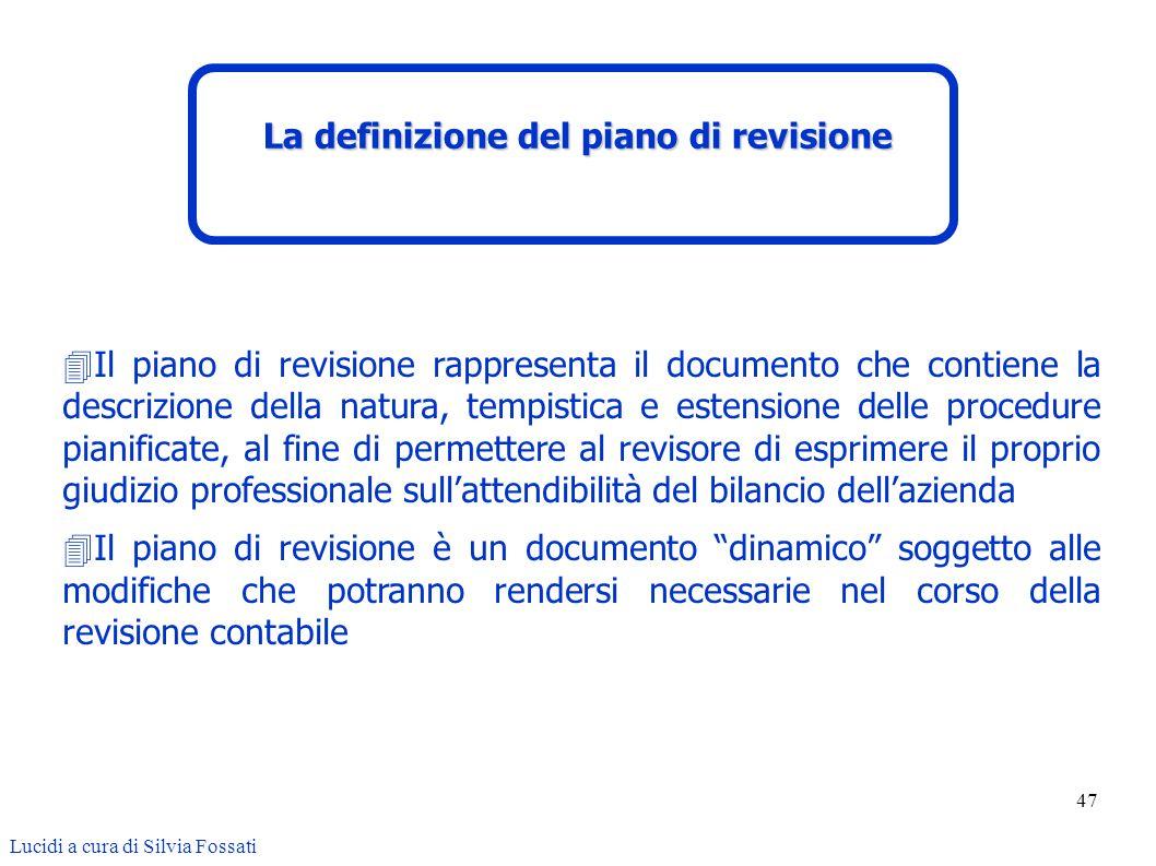 La definizione del piano di revisione