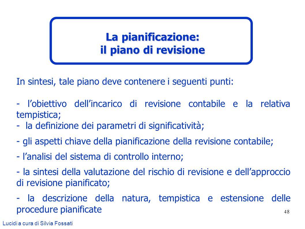 La pianificazione: il piano di revisione