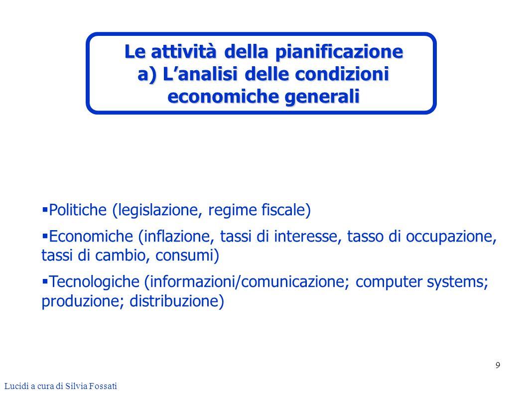 Le attività della pianificazione a) L'analisi delle condizioni