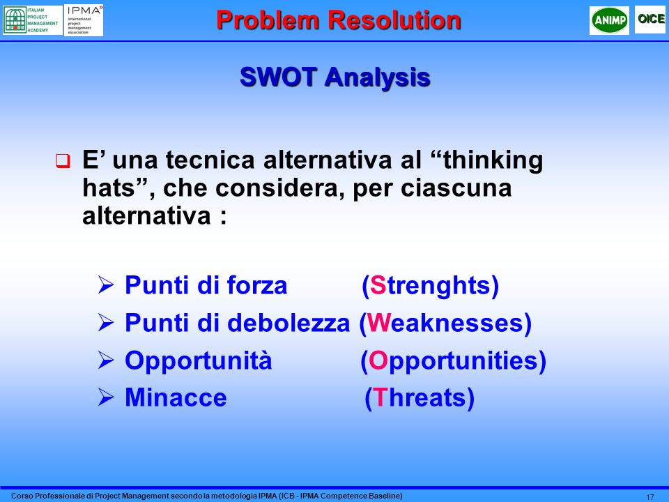 Problem Resolution SWOT Analysis. E' una tecnica alternativa al thinking hats , che considera, per ciascuna alternativa :