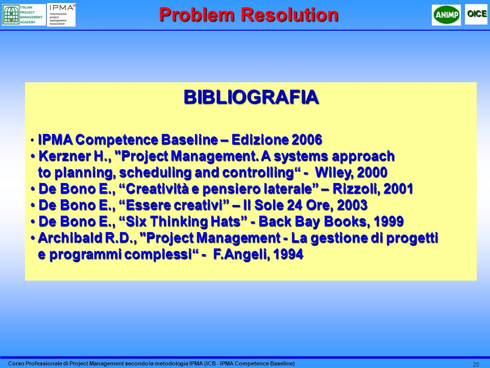 Problem Resolution BIBLIOGRAFIA