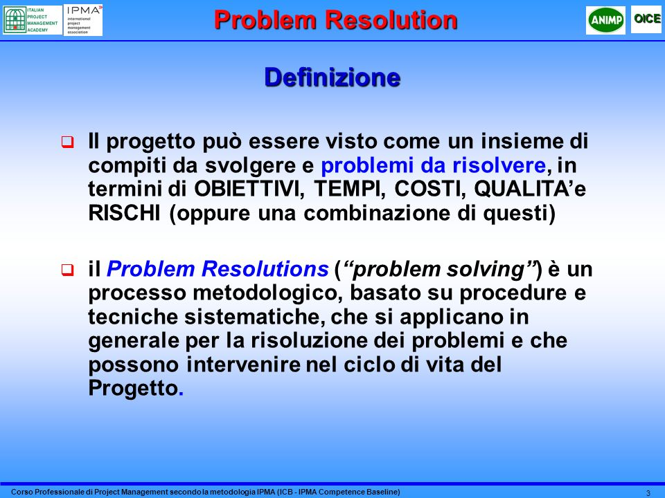 Problem Resolution Definizione