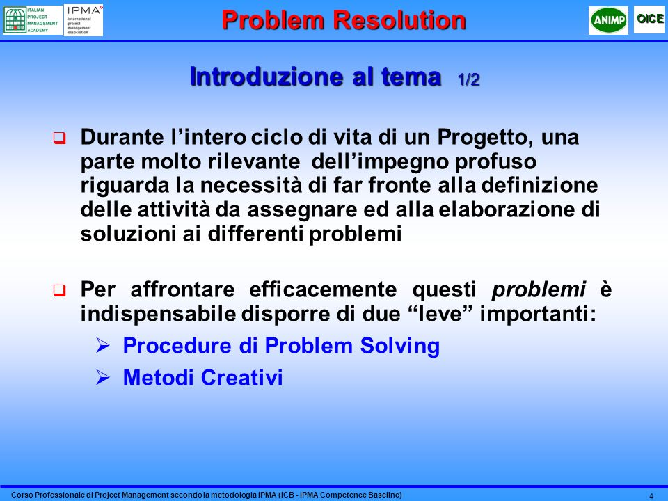 Problem Resolution Introduzione al tema 1/2