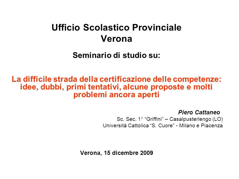 Ufficio Scolastico Provinciale Seminario di studio su: