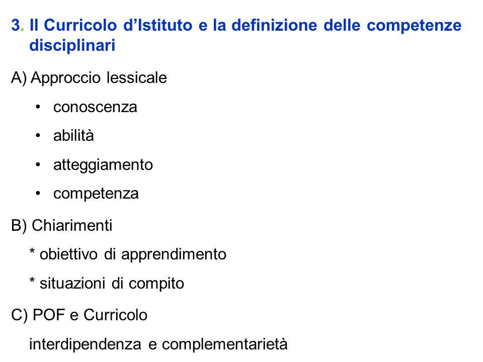 3. Il Curricolo d'Istituto e la definizione delle competenze disciplinari
