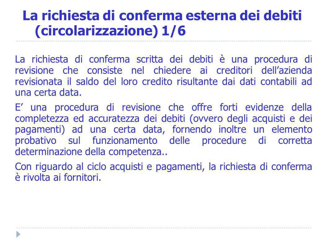La richiesta di conferma esterna dei debiti (circolarizzazione) 1/6