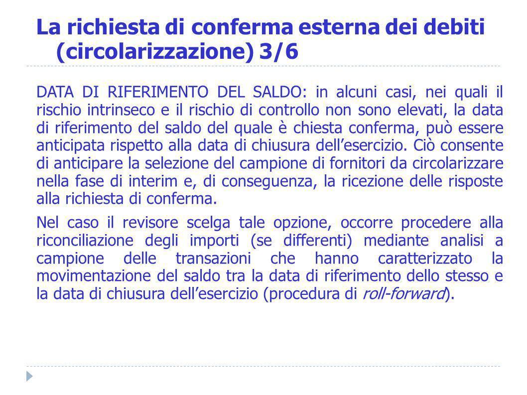 La richiesta di conferma esterna dei debiti (circolarizzazione) 3/6