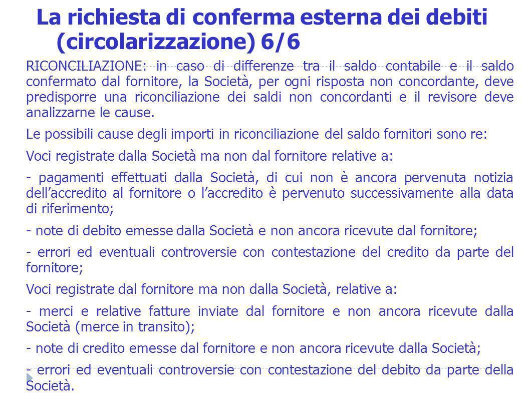 La richiesta di conferma esterna dei debiti (circolarizzazione) 6/6