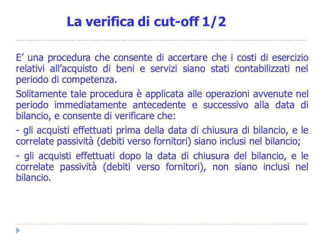 La verifica di cut-off 1/2