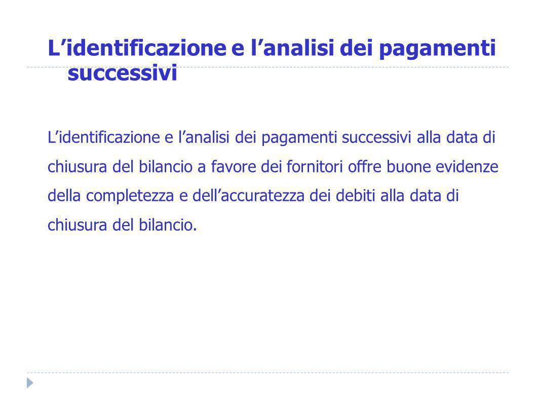 L'identificazione e l'analisi dei pagamenti successivi