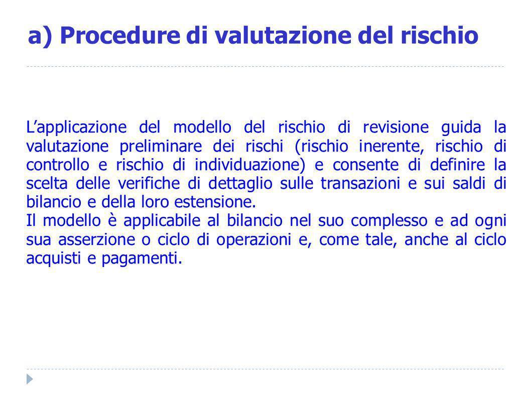 a) Procedure di valutazione del rischio