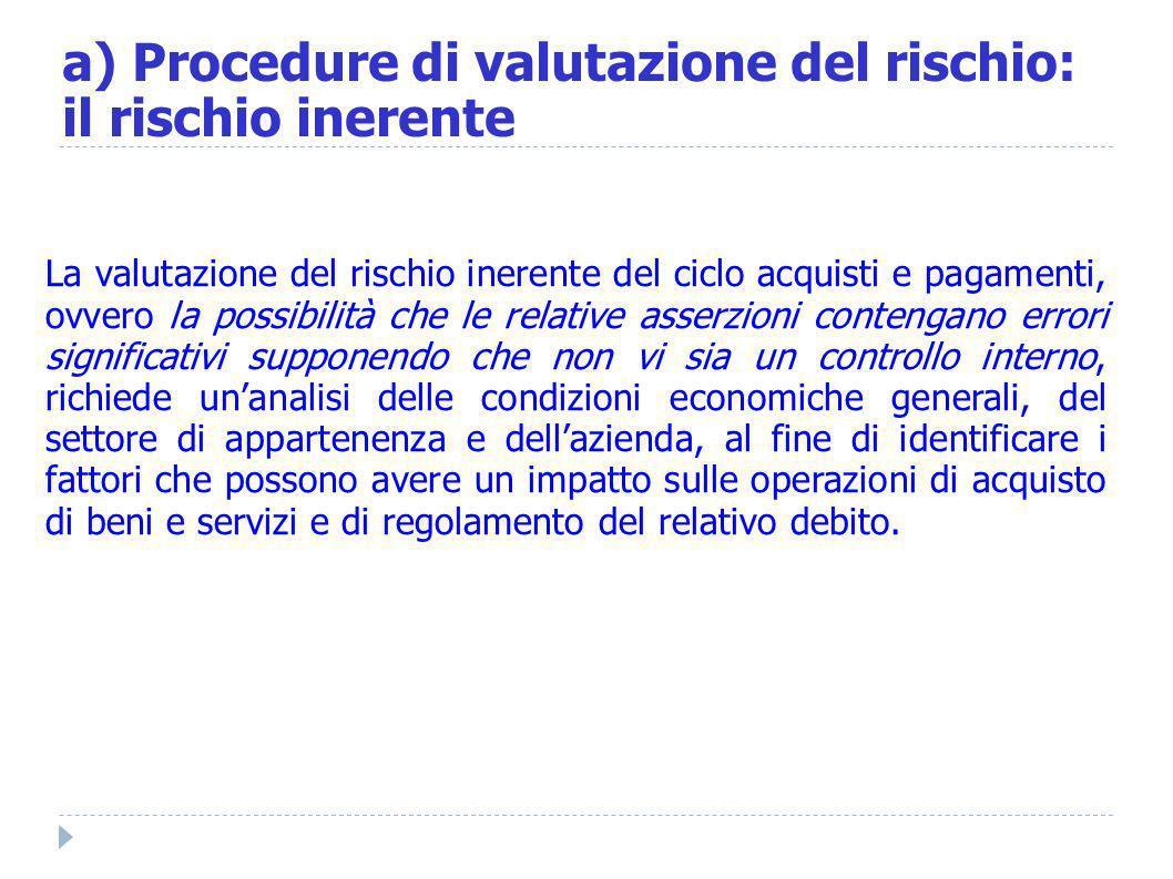 a) Procedure di valutazione del rischio: il rischio inerente