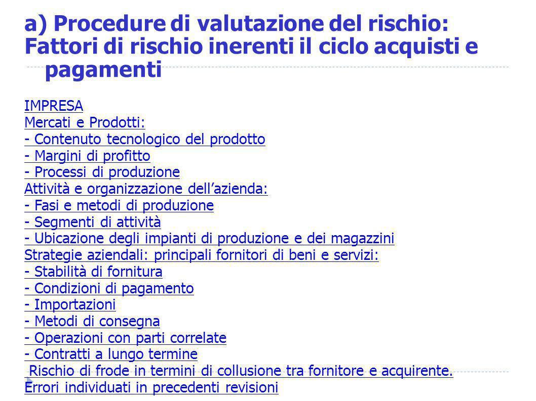 a) Procedure di valutazione del rischio: Fattori di rischio inerenti il ciclo acquisti e pagamenti