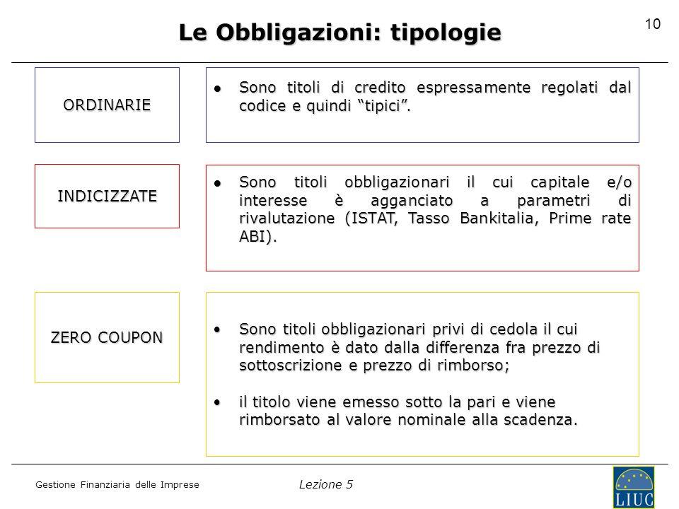 Le Obbligazioni: tipologie