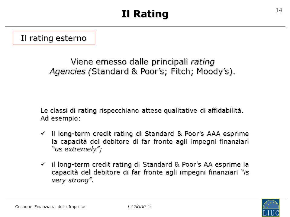Il Rating Il rating esterno Viene emesso dalle principali rating