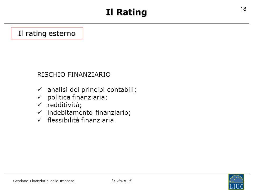 Il Rating Il rating esterno RISCHIO FINANZIARIO