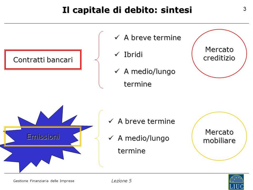 Il capitale di debito: sintesi