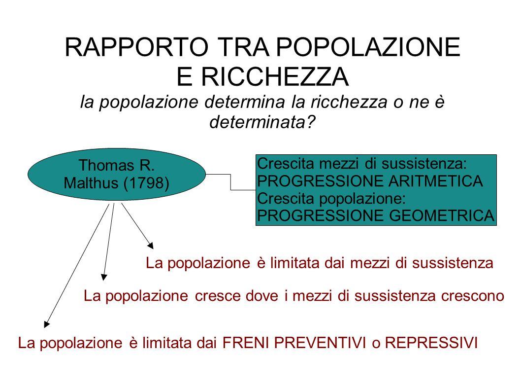 RAPPORTO TRA POPOLAZIONE E RICCHEZZA