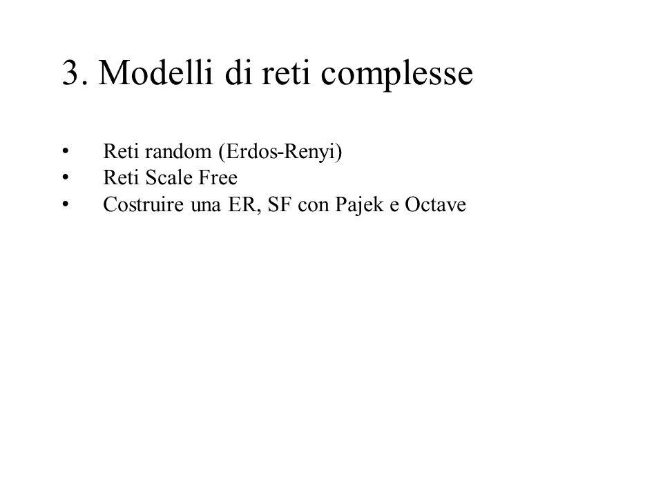 3. Modelli di reti complesse