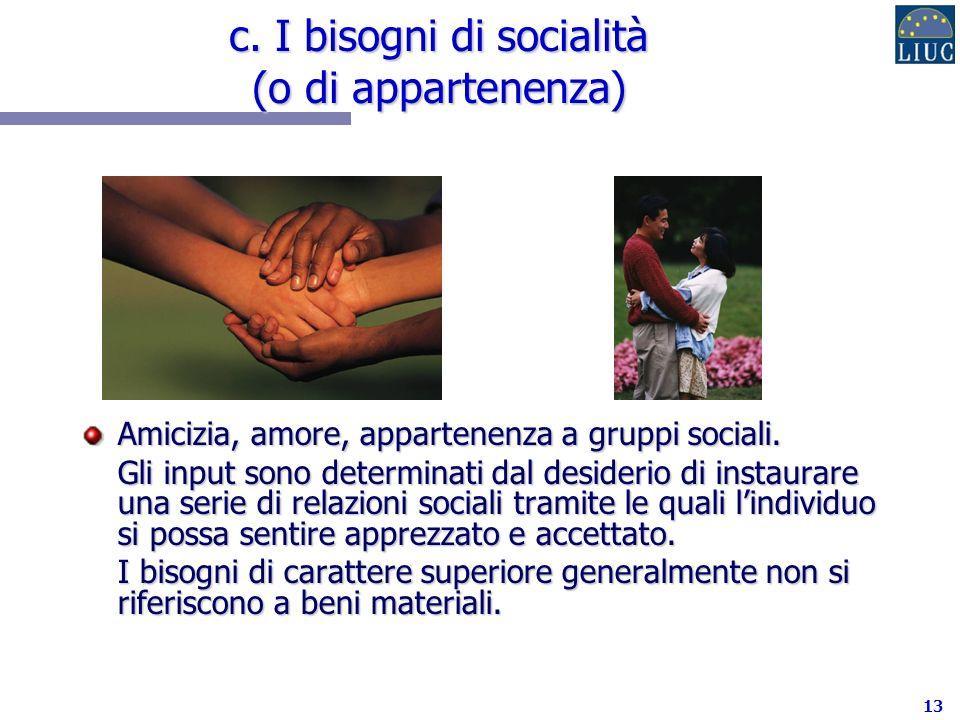 c. I bisogni di socialità (o di appartenenza)