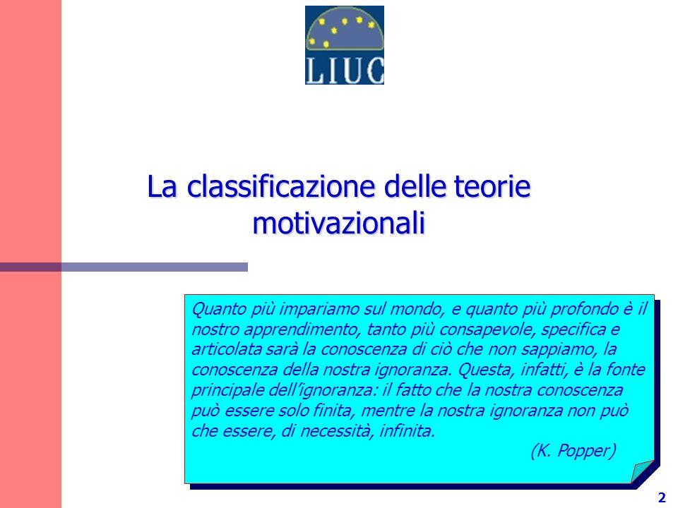 La classificazione delle teorie motivazionali