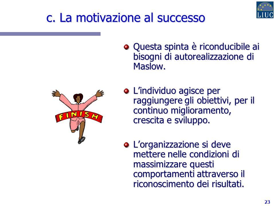 c. La motivazione al successo